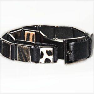 Suzi Roher Belt Black Leather Faux Fur Animal